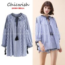 Chicwish Stripes Flower Patterns Casual Style V-Neck Long Sleeves