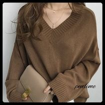 NANING9 Rib V-Neck Plain Medium Office Style Oversized Puff Sleeves