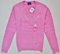 Ralph Lauren Cable Knit Casual Style Wool V-Neck Long Sleeves Plain
