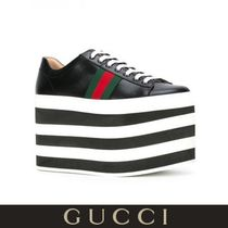 GUCCI Stripes Platform Round Toe Casual Style Plain Leather