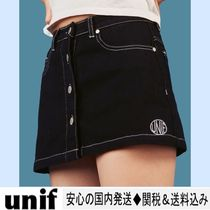 UNIF Clothing Short Casual Style Plain Cotton Skirts