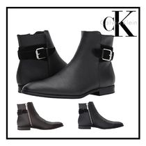 Calvin Klein Plain Toe Leather Engineer Boots