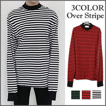 Crew Neck Stripes Street Style Long Sleeves Cotton