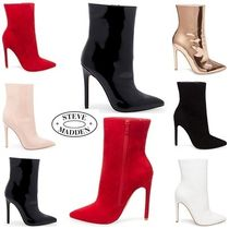 Steve Madden Suede Blended Fabrics Plain Pin Heels Ankle & Booties Boots