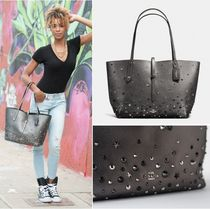 Coach Star Studded A4 Plain Leather Office Style Totes