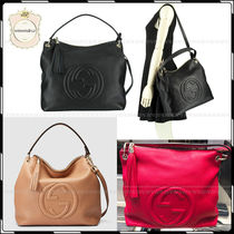 GUCCI A4 Plain Leather Elegant Style Handbags