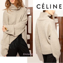 CELINE Cable Knit Casual Style Cashmere Long Sleeves Plain