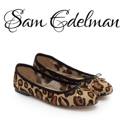 Leopard Patterns Round Toe Leather Flats