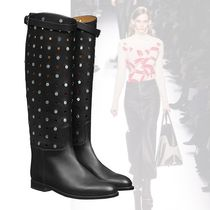 HERMES Dots Casual Style Blended Fabrics Leather Boots Boots