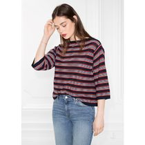 & Other Stories Stripes Casual Style Boat Neck Cropped Cotton Oversized