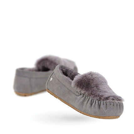 Moccasin Round Toe Casual Style Fur Plain Flats