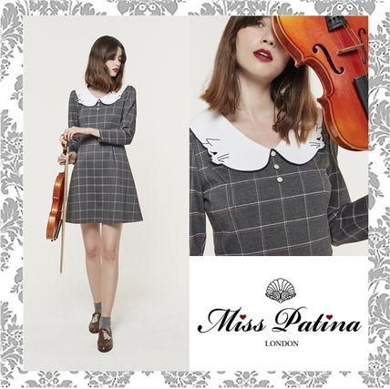 Short Other Check Patterns Casual Style A-line Bi-color