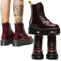 Dr Martens Platform Round Toe Lace-up Faux Fur Plain Lace-up Boots
