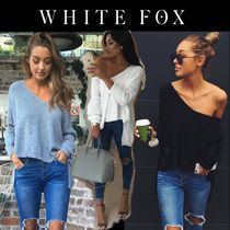 WHITE FOX Casual Style Wool V-Neck Long Sleeves Plain Medium Oversized