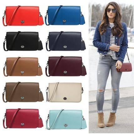 d7a394db94 Coach TURNLOCK 2WAY Plain Leather Elegant Style Shoulder Bags