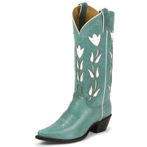 Justin Boots Cowboy Boots Rubber Sole Leather Mid Heel Boots