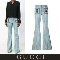 GUCCI Flower Patterns Casual Style Denim Studded Plain Long