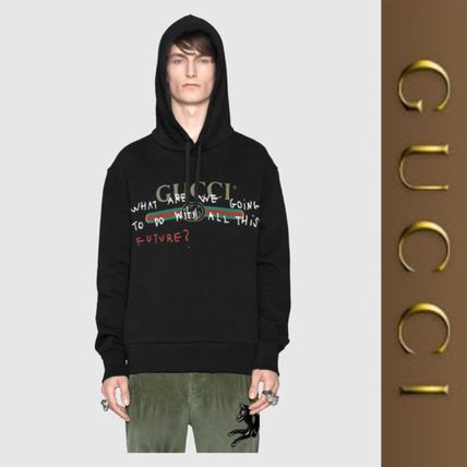 GUCCI Pullovers Long Sleeves Plain Cotton Hoodies