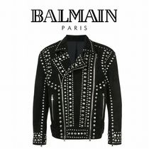 BALMAIN Short Studded Plain Leather Biker Jackets