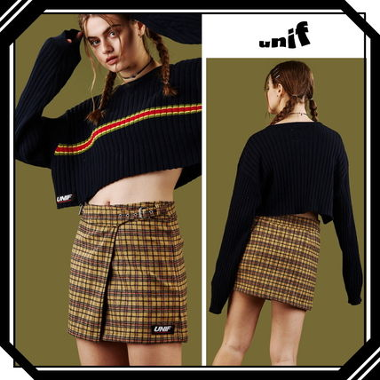 UNIF Clothing Pencil Skirts Short Tartan Casual Style Wool Street Style