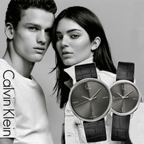 Calvin Klein Casual Style Leather Round Quartz Watches Analog Watches