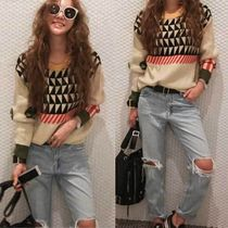 NANING9 Casual Style Long Sleeves Sweaters