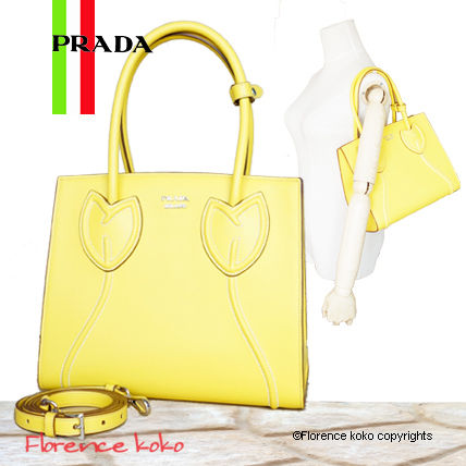 PRADA Totes Sole Yellow Tulips City Calf Leather Tote Bag