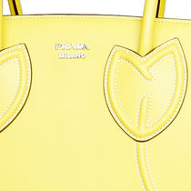 PRADA Sole Yellow Tulips City Calf Leather Tote Bag