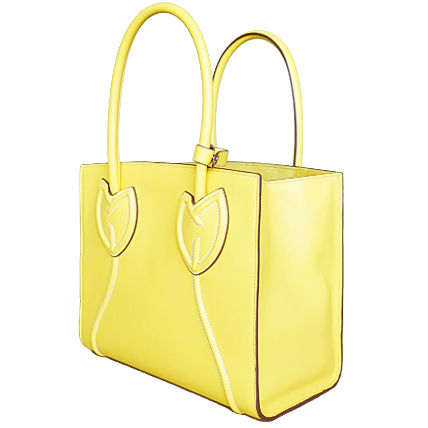 PRADA Totes Sole Yellow Tulips City Calf Leather Tote Bag 3