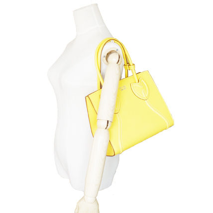 PRADA Totes Sole Yellow Tulips City Calf Leather Tote Bag 7