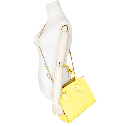 PRADA Totes Sole Yellow Tulips City Calf Leather Tote Bag 8