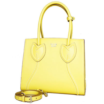 PRADA Totes Sole Yellow Tulips City Calf Leather Tote Bag 9