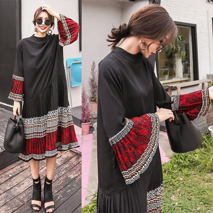 Paisley Casual Style Flared Long Sleeves Long High-Neck