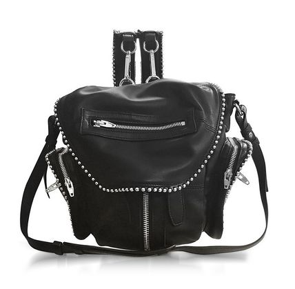 Lambskin Studded 3WAY Elegant Style Backpacks