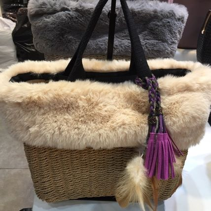 Casual Style Faux Fur Blended Fabrics 2WAY Plain Straw Bags
