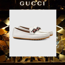 GUCCI Driving Shoes Plain Leather Loafers & Slip-ons