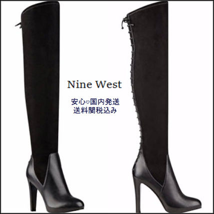 Nine West Casual Style Plain Pin Heels Over-the-Knee Boots