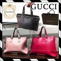 GUCCI 2WAY Plain Office Style Totes