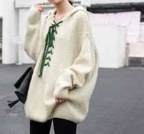 Casual Style Long Sleeves Plain Long Oversized Sweaters