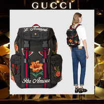 GUCCI Flower Patterns Canvas A4 Backpacks