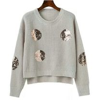 Crew Neck Short Dots Casual Style Long Sleeves Cropped