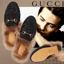 GUCCI Fur Plain Loafers & Slip-ons