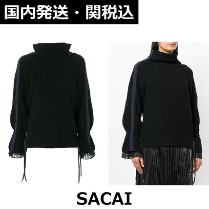 sacai Rib Plain Medium High-Neck Elegant Style Puff Sleeves