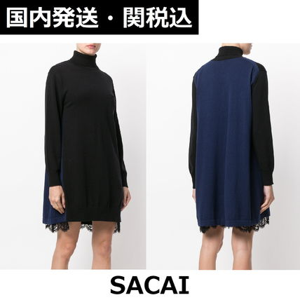 sacai A-line Blended Fabrics Bi-color Long Sleeves Medium