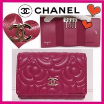 CHANEL ICON Flower Patterns Calfskin Keychains & Bag Charms