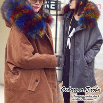 Street Style Plain Medium Parkas
