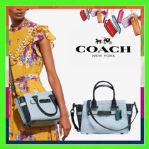 Coach SWAGGER Pale Blue Colorblock Leather 27 Handbag