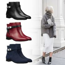 HERMES Casual Style Plain Ankle & Booties Boots