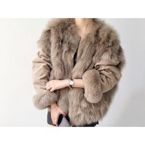 Short Casual Style Fur Plain MA-1 Bomber Jackets