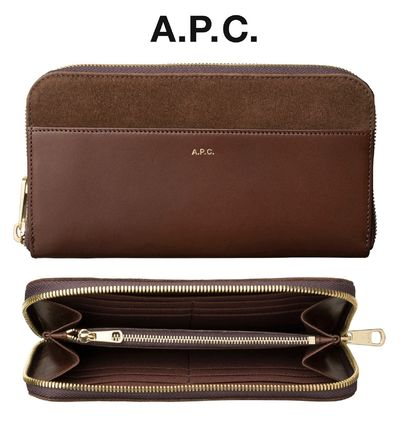 Blended Fabrics Leather Long Wallets